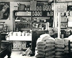 Vintage Bandw 1930s Rppc Inside Southern Country Store Ok Soap Coca-cola Postcard