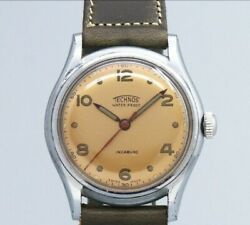 Technos 3 Hands Original Copper Dial Manual Winding Vintage Watch 1950's