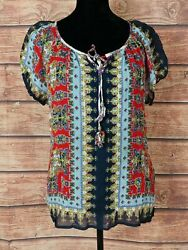 BILA Top SC440 Sz 2XL Boho Blouse Embroidered Georgette Peasant Festival SHEER