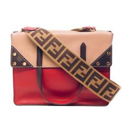 Fendi Flip Medium Red Zucca Strap Satchel Crossbody Leather Shoulder Bag