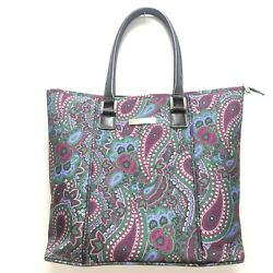 Anne Klein Floral Paisley Large Tote Purse Handbag Purple Green Striped Lining $23.27
