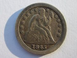 1845-o Seated Liberty Dime 10c Very Rare Date New Orleans Mint High Grade