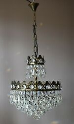 Antique / Vintage Brass Crystal Chandelier French Lamp Pendant Home Interior
