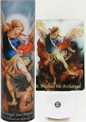 St Michael Set Night Light w Automatic Sensor and Candle w 6 Hour Timer $23.00