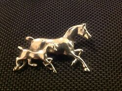 Sterling Silver Trotting Mare With Foal Horse Pony Brooch Pin Equestrian Gift N