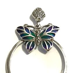 Sterling Silver Marcasite Enamelled Butterfly Magnifying Glass Pendant New Boxed