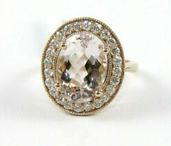 Natural Oval Pink Morganite And Diamond Halo Ladyand039s Ring 14k Rose Gold 7.36ct