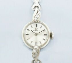 Omega 14k White Gold Aa7554 Original Dial Manual Vintage Womenand039s Watch 1966and039s