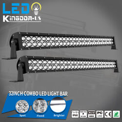 2x 32inch 180w Led Light Bar Spot Flood Combo For Jeep Offroad Truck 4wd Rzr 34