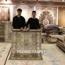 Yilong 4'x6' Parlor Silk Hand Knotted Classic Area Rug Four Seasons Carpet 33b
