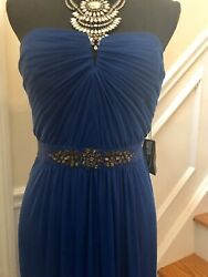 NWT Blue size 14 Designer floor length Sweetheart gown Prom Bridesmaid Dress