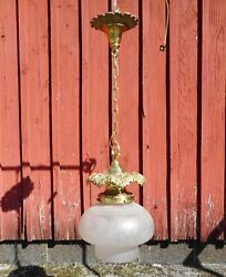 Brass Hanging Hall Fixture with GREAT VICTORIAN SHADE