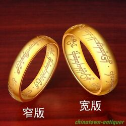 Buddhism 999 24k Yellow Gold The Lord Of Rings Finger Ring Exorcise Evil 5389