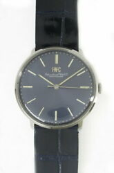 Cal.403 Leather Antique Men's Watch Stainless Steel Black Dial Excellent