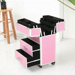 Portable Makeup Case Cosmetic Train Box Trolley Storage Lockable with 2 Drawer