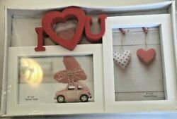 Red And White I Heart U Double Picture Frame-valentines Day Great Gift Bnib Global