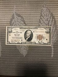 1929 10 Federal Reserve Bank Of New York Fine Condition Bank Note Brown Seal
