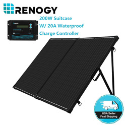 Renogy 200w 12v Mono Folding Solar Panel Suitcase Rv Off Grid Battery Charger