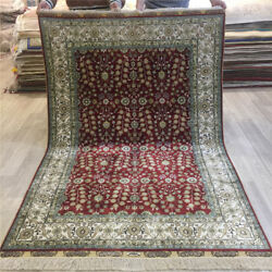 Yilong 4'x6' Small Handmade Carpet Red Pictorial Hand Knotted Silk Area Rug 199a