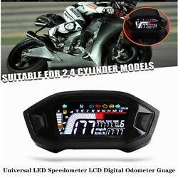 Universal Lcd Digital Speedometer Odo Guage Instruments For Cylinder Motorcycle