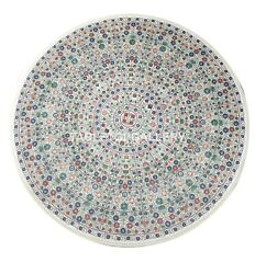 4'x4' Marble Dining Table Top Multi Stone Micro Floral Inlay Hallway Decor W016