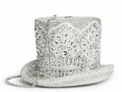 Judith Leiber Top Hat Rhine Black Silver Minaudière Evening Bag Abracadabra NEW