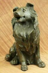 VINTAGE LASSIE TROPHY CRAFT COPPER BRONZE COLLIE DOG METAL FIGURINE DECOR GIFT