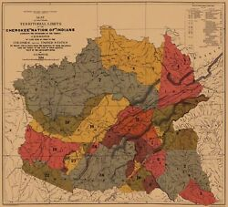 Cherokee Nation Of Indians Colonies Mississippi River 1884 - 23.00 X 25.36