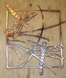 Dragonfly Scene Wall Metal Art Hanging with Rustic Copper Finish