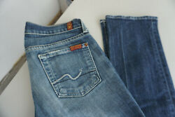 7 For All Mankind Straight Women's Jeans Stretch Trousers W25 L30 Used Blue AD30