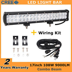 17inch 108w Led Light Bar Driving Combo Lamp Offroad Truck + Wire Harness 18/19