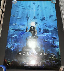 Aquaman 27x40 Ds Original Theater Poster Signed Autograph By Jason Momoa +3
