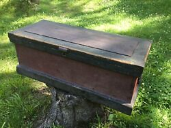 Vintage Wooden Carpenterand039s Tool Chest Black And Maroon W/ Trays