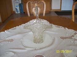 Button's And Diamond Cut Clear Leaded Crystal Glass Handled Vintage Tall Basket