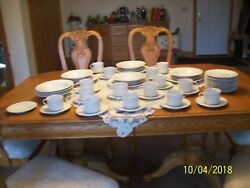 Pfaltzgraff Vtg China White Embossed Woven Ribbon Pattern Grouping Of 58 Pieces