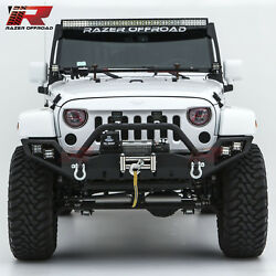 Full Size Front Bumper Winch Plate+dual Led Mounting For 07-18 Jeep Wrangler Jk