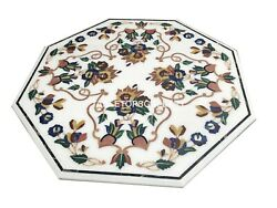 48 White Marble Dining Table Top Malachite Floral Inlay Restaurant Decors W094b