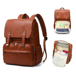 Diaper Bag Backpack Leather Travel Large Capacity Organizer W Changing Pad Hook $29.99