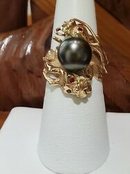 Vintage 14k Yellow Gold Round Black Tahitian Twin Dragon Head And Ruby Eyes Ring