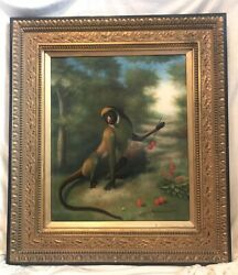 Vintage Oil Painting On Canvas, Signed, Monkey In Forest, Gold Frame 34 X 30