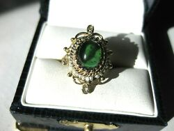 Antique Victorian 14k Yellow Gold Ringgreen Tourmaine,seeds Pearl And Diamonds