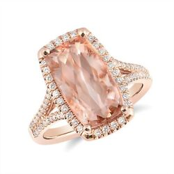 Natural Morganite 4.74 Carats Set In 14k Rose Gold Ring With 0.31cts Diamonds