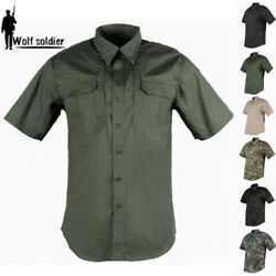 Menand039s Military Short Sleeve Shirt Camouflage Casual Tactical Combat Army Shirts