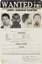 Orig.poster-wanted By The Fbi / Leroy Eldridge Cleaver-1968-black Panther Party
