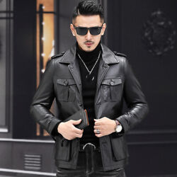 Menand039s Real Cowhide Jacket Genuine Leather Outwear Down Coat Multi-pocket Blazers