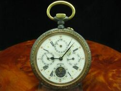 Large Iron Open Face Pocket Watch Complete Calendar Moon Phase/diameter 67,0 Mm
