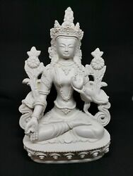 Beautiful White Tara Buddhist Deity Hard Resin Statue Sculpture from Nepal $69.99