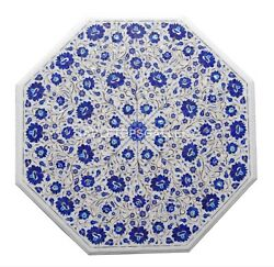 32 White Marble Coffee Table Top Micro Lapis Floral Inlay Stone Home Decor W145
