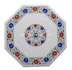 32 Marble Coffee Table Top Mosaic Carnelian Lapis Floral Inlay Home Decors W146