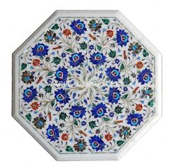 20 White Marble Coffee Table Top Mosaic Lapis Floral Art Inlay Home Decors W151